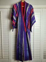 Vintage Kimono Traditonal Japanese Jacket Robe Geisha Red Purple Striped