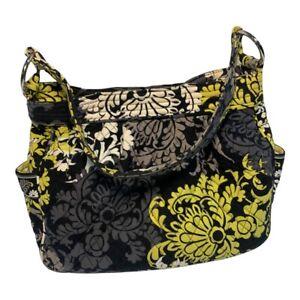 Vera Bradley Large Hobo Shoulder Bag Magnetic Closure Lemon  Black & Green