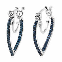 Platinum 925 Sterling Silver Rhodium Plated Blue Diamond Hoop Hoops Earrings