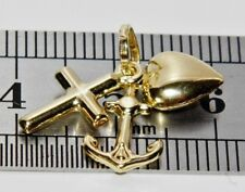 "9ct Gold Heart Cross & Anchor ""Faith Hope & Charity"" Pendant / Charm"