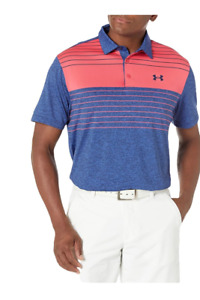 Under Armour Mens The Playoff Golf Polo Shirt Blue Heather Loose Fit Stretch L
