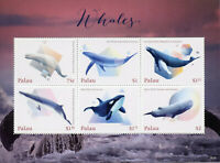 Palau 2018 MNH Whales Killer Humpback Blue Whale 6v M/S Marine Animals Stamps