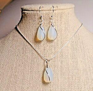 """OPAL color Cultured sea glass petite design teardrop wrapped set 18"""" necklace"""