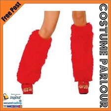 Womens Ladies Mens Red Fluffy Furry Boot Covers Rave Leg Warmers