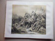 gravure  noir et blanc 19°:Bataille de Tolbiac en 496 par:ARY SCHEFFER