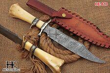 HUNTEX Custom Handmade Damascus Steel 41 cm Long Natural Camel Bone Bowie Knife