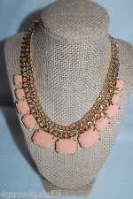 "Necklace COSTUME JEWELRY Gold Tone Chain 18"" PEACH BEADS Rectangle LIGHT WEIGHT"