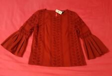 Express Red Eyelet Bell Sleeve Top XS Nwt