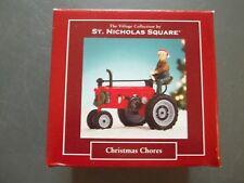 St Nicholas Square Christmas Village Farmer Tractor Christmas Chores Euc (b5)