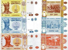 MOLDAVIA Moldova - Lotto Lot 3 banconote 1/5/10 Lei FDS - UNC