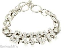 Hip Hop Urban Fashion Crystal Bling Silver BITCH pendant & chain Bracelet