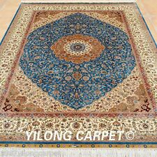 Yilong 5'x7' Top Silk Rugs Hand Knotted Square Carpets Living room Handmade 0175