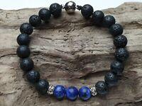 Edelstein Armband Lapis Lazuli Lava Perlen Tibet style Magnetverschluss  Ø 8 mm