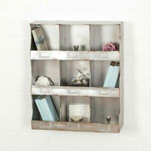 Industrial Vintage Style Storage Cupboard Cabinet 9 Pigeon Hole Wall Metal Shelf