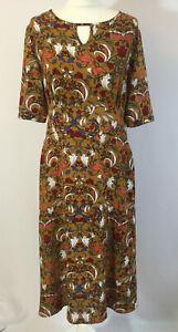 Joe Browns Midi Dress 12 Mustard Floral Print Gorgeous Autumnal Colours