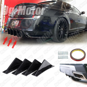 Universal Rear Bumper Diffuser Lip Splitter Shark Fin Trim Cap For Chrysler 300