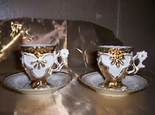 Antique Vintage pair of white & Gold Tea Cups & Saucers Lot Hand crafted