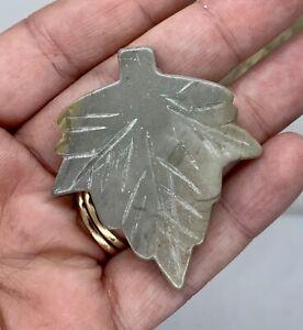 Leopard Jasper Top Drilled carved leaf Pendant Bead