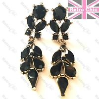 "3.5""CRYSTAL EARRINGS chandelier BLACK/GOLD/SILVER rhinestone BRIDAL vintage styl"