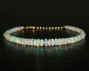 Natural Ethiopian Fire Opal Bracelet 925 Sterling Silver Healing Gemstone Women