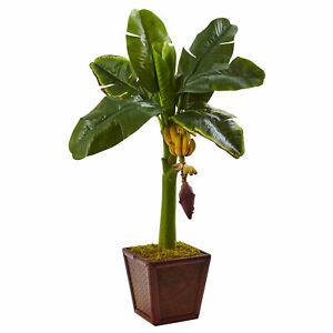 Nearly Natural Banana Tree In Wooden Planter Faux Fruit Home Decor Artificial