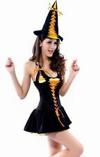 Ladies Candy Corn Witch Fancy Dress Womens Costume Halloween Outfit UK 8-10