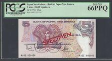 Papua New Guinea 5 Kina (20)02 P13es Specimen Uncirculated Grade 66