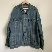 Levi Strauss Mens Trucker Jacket Blue Denim Logo Buttons Pockets Cotton Size 3XL