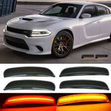 For 2015-2020 DODGE CHARGER Smoked LENS LED SIDE MARKER LIGHTS FRONT & REAR SET