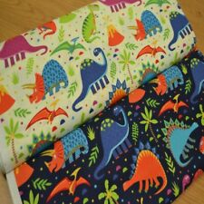 Fun JURASSIC DINOSAUR PRINT Kids Childerens 100% COTTON Craft Fabric
