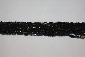 "Genuine Stone Beads-Two (2) Strands14-15"" Strands*Black Onyx * & * Black Stone *"