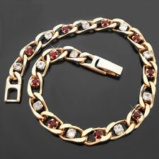 """6mm RUBY RED & WHITE Simulated DIAMOND CURB LINK 14k Gold GL 8"""" Bracelet 