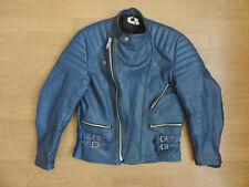 Men's Vintage Blue Leather Biker Jacket R15-13