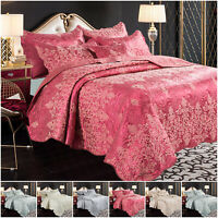 Quilted Jacquard Bedspread Satin Bed Throw with Pillow Shams Double & King Size