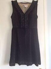 Boutique by Jaeger Black Frill Brigitte Dress 10 RRP £199