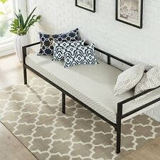 Solid Metal Daybed Frame with 5 Inch Twin Size Foam Mattress Set Sofa Furniture