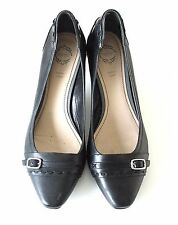 Women's Vintage ESPRIT Slip on Heel Black 100% Real Leather Shoes Pumps UK6 EU39