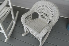 Vintage Wicker Child Rocking Chair Beautiful Intricate Detail White Rocker Nice!