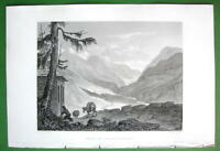 ITALY Airolo & Val Levantine Alps - SCARCE 1836 Antique Print ENgraving