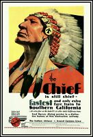 The Chief 1929 Santa Fe Railroad Vintage Poster Print Retro Style Train Travel