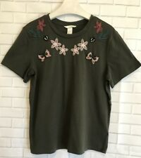 H&M T-Shirt Size Small Olive Green Embroidered Beaded NWT Festival