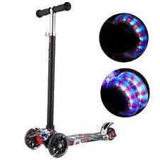 3-Wheel Led Kids Gift Kick Scooter Deluxe Folding Adjustable Glider