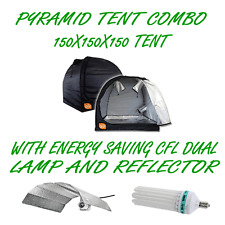 PYRAMID GROCELL 150X150X150 GROW TENT + 130W CFL ENERGY SAVING LAMP & REFLECTOR