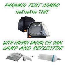 PYRAMID GROCELL 150X150X150 GROW TENT + 130W CFL ENERGY SAVING LAMP & REFLECTOR