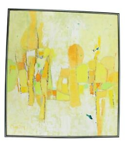 Mid Century Modern Abstract Textured Yellow Bright Painting Signed Martin Framed