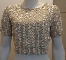New Lace & Beads S/Sleeve Cream top with All Over Beading Size 12