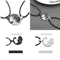 Couple Jewelry Gift Set Personalized Engraved Puzzle Hug Cats Pendant Necklace
