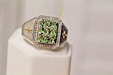 Men's ring Natural Green Apatite & White Topaz 14K YG Platinum over .925 SS S12