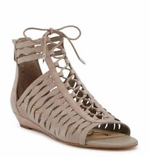 NEW SAM EDELMAN Daleece Sz 8.5 Gray Suede Leather Zip Lace Up Sandal Wedge Stone