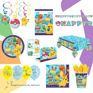 Pokemon Birthday Party Set Pack Partyware Tableware Decorations Plates Balloons